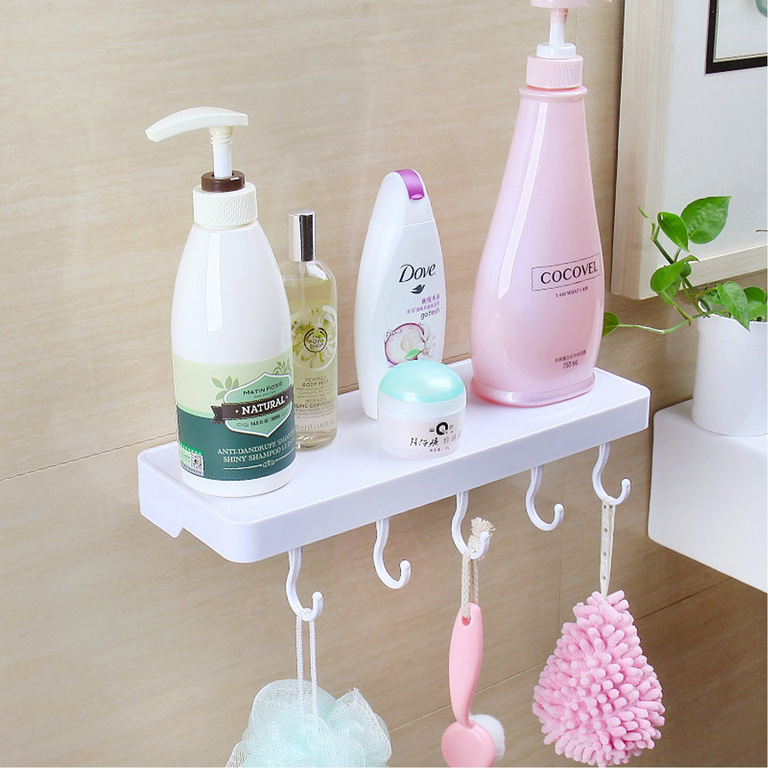 Bathroom Shelf with Five Hooks,Super Suction Cup Wall Mounted Sturdy Plastic Storage Rack For Kitchen/Shower & Living Room/Office