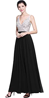 QSYE Women s Beaded Prom Dreeses Long V-Neck Chiffon Evening Gowns 2018 cfed2a1ca873