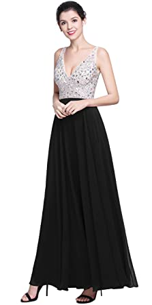 QSYE Womens Beaded Prom Dreeses Long V-Neck Chiffon Evening Gowns 2018 Black,0