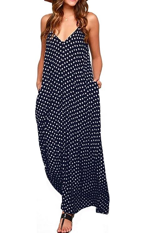 LILBETTER Women's Loose V-Neck Sleeveless Dot Print Boho Long Maxi Dress (Navy Blue,L)