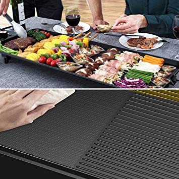 10.6in Electric Baking Pan Multi-Function 1400W BBQ Barbecue Griddle Nonstick Pan Smokeless Grill Pan Adjustable Temperature,for 1-6 People TOPQSC Electric Teppanyaki Table Grill 18.9