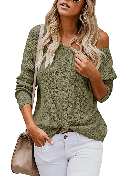 MissTiny Womens V Neck Casual Long Sleeve Button Down Lightweight Cardigan  Sweaters Blouse Army Green S bd3072f52