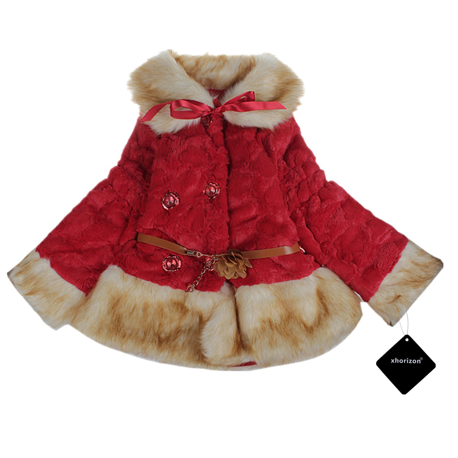 xhorizon TM SR1 Baby Girl Kids Toddler Fleeced Warm Winter Faux Fur Lace Jacket Coat Age 1-5 Years Gift