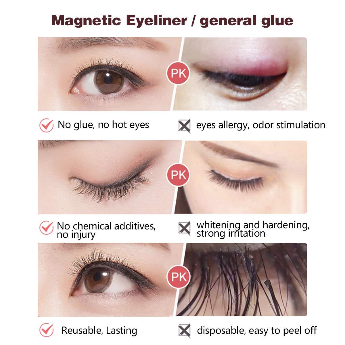 Magnetic Eyelashes Eyeliner Set, Waterproof Long Lasting Magnetic Eyeliner and Lashes Eyelashes Kit, Magnet 3D Eyelashes & 2 PCS Liquid Eyeliner with Eyelash Tweezers,Reusable Silk False Lashes set