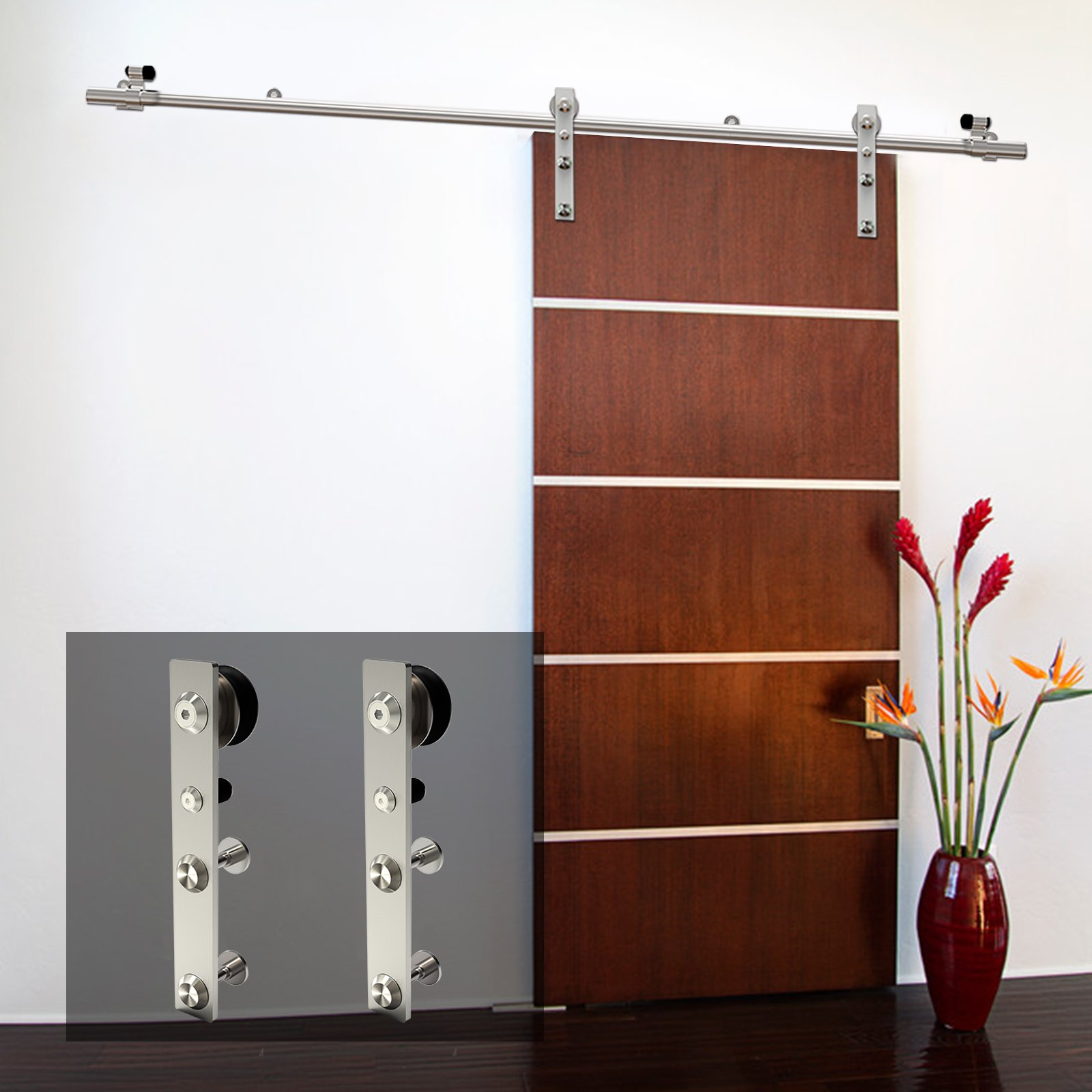 CCJH Modern Stainless Steel Sliding Wooden Door Hardware Kit Flat Style (4FT for Single Door)