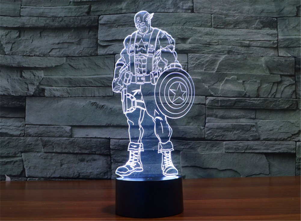 SmartEra® 3D Optical Illusion 2016 New Captain America Panel Model Lighting Night 7 Color Change USB Touch button LED Desk Table Light Lamp by SmartEra® (Image #3)