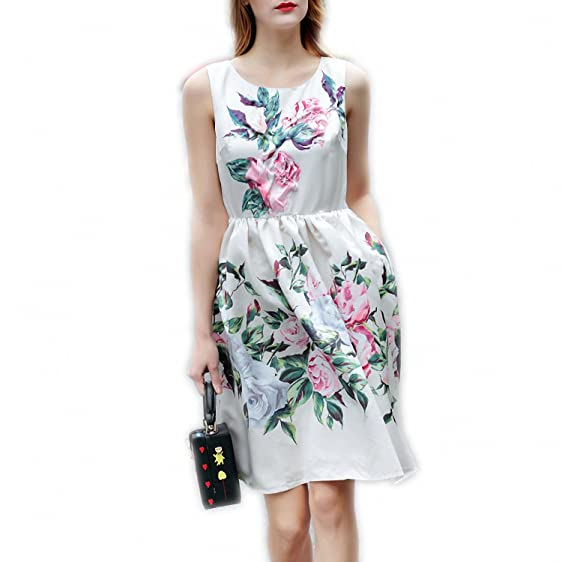 Venetia Morton Fashion Summer Dress Womens elegant Sleeveless Flower Floral Print Appliques Beading Casual Vest Dress