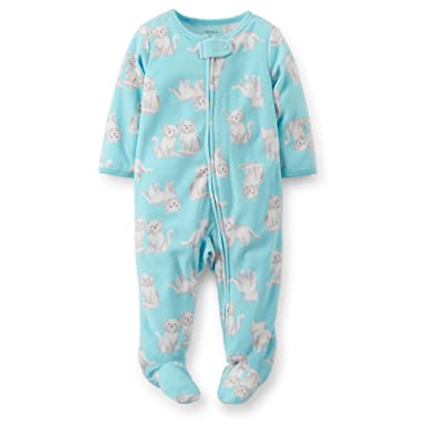 530284fddcf6 Amazon.com  Carters Baby Girls Blue Kitty Fleece Zipper Front ...