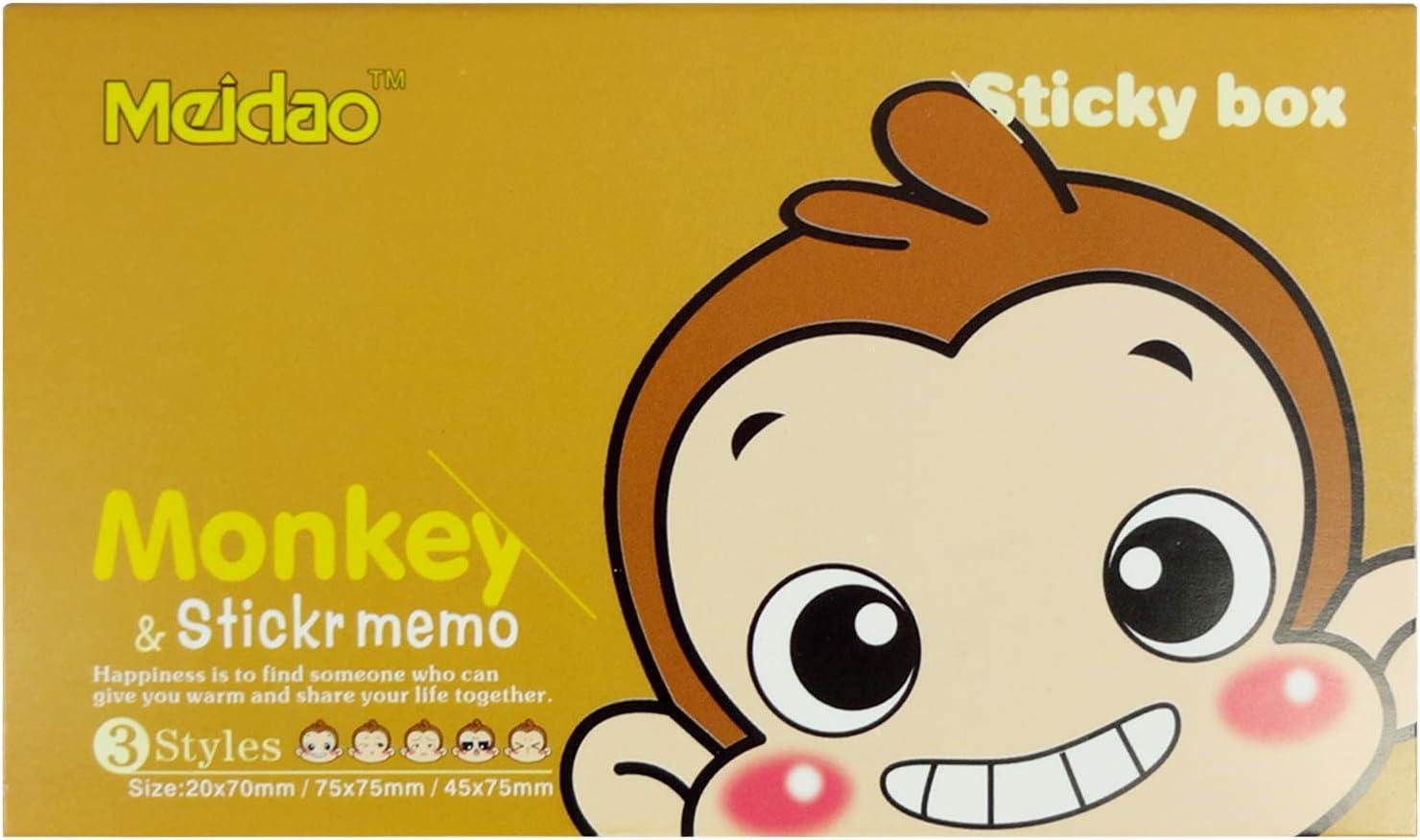 Emartbuy Packung mit 3 Farbenfroh Selbstklebendes Memo Pad Haftnotizen Lesezeichen Affe-Design