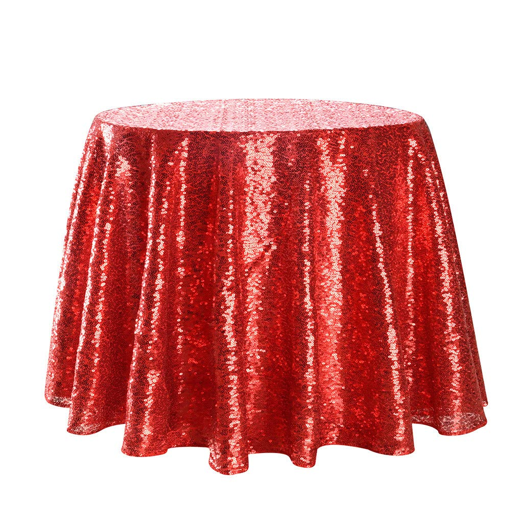 Round Sparkly Sequin Tablecloth Cake Sequin Tablecloths Table Cover for Wedding Party Banquet Red 240cm
