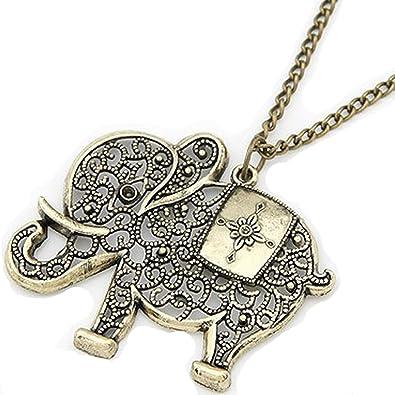 Vintage Collier avec pendentif en forme d un éléphant en optique d or de be649a4602b7