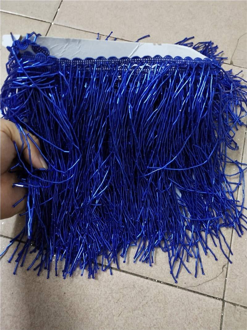 Dalab YG-323 Blue Color Tube Beads Unique Beads Tassel Fringe 5yards 15cm for Wedding Decoration Dress by DalaB