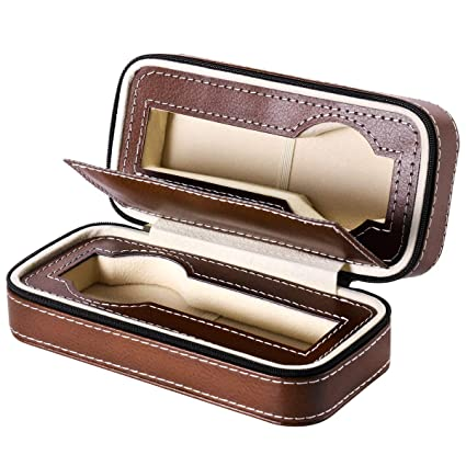 ffd283c06 NICERIO Zippered Watch Storage Box Watch Holder Organizer Dual Wristwatch  Protector Travel Case (Brown): Amazon.co.uk: DIY & Tools