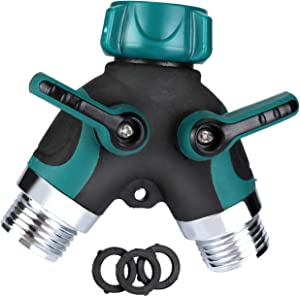 BFVV 2 Way Garden Hose Splitter Y Hose Connector Metal Body with Rubberized Easy Grip, Smooth Long Handles Green(3 Free Washers)