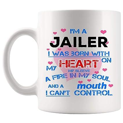 Amazon com: Born With Heart Jailer Mug Best Coffee Cup Mugs