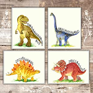 Dinosaur Bedroom Decor Wall Art Prints (Set of 4) - Unframed - 8x10s