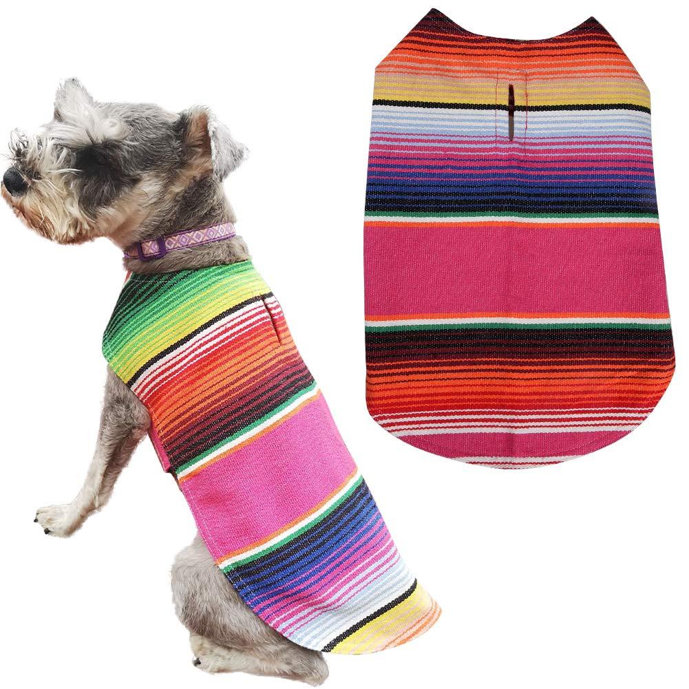 Lamphyface Pet Costume Dog Clothes Poncho Reversible Plaid Coat Apparel Mexican Serape, Medium