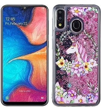 QC-EMART Coque pour Samsung Galaxy A20e Transparente avec Motif Fleur Licorne Liquide Paillette Silicone TPU Gel Housse Etui Antichoc Souple ...