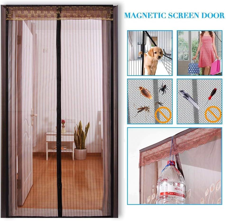 Mosquitera magnética para puerta, protección contra insectos, montaje adhesivo sin agujeros, protección contra insectos como moscas y mosquitos, acabado de alta calidad, para puerta de balcón, salón, puerta corredera, puerta de terraza:
