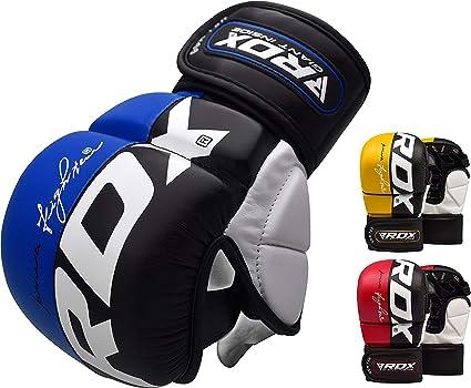 RDX Leather Grappling Gloves MMA Sandbag Fight Sports Training Gloves DE
