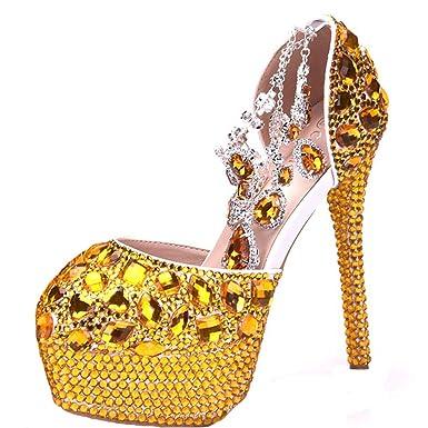 70e5a859ad2b2 Moojm Mujeres Sandalias De Tacón Alto Zapatos De Boda De Cristal Brillante  Zapatos De Novia De Punta Redonda  Amazon.es  Ropa y accesorios