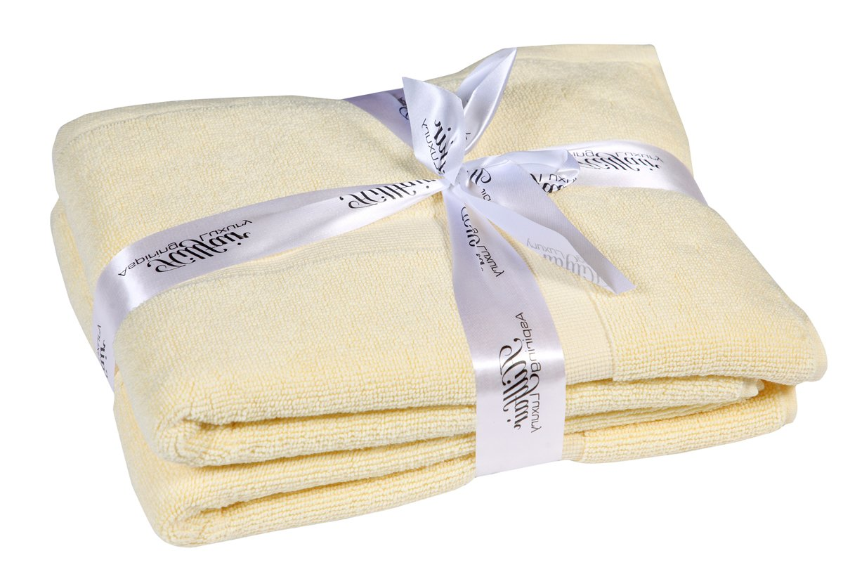 HILLFAIR Bath Towels Set (Bath Mat-Set of 2, Yellow) by HILLFAIR (Image #2)