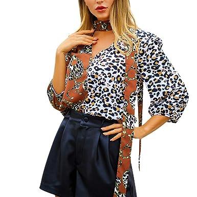 b4d657b8e6e Nihewoo Women Plus Size Blouse Leopard Print T-Shirt V-Neck Tops Long Sleeve