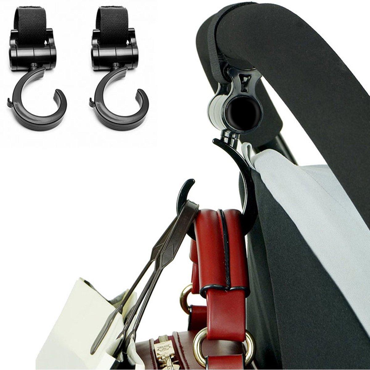 Stroller Hook,Dealgadgets 2 Pack Multi Purpose Hooks Hanger for Baby Diaper Bags, Groceries, Clothing, Purse Black