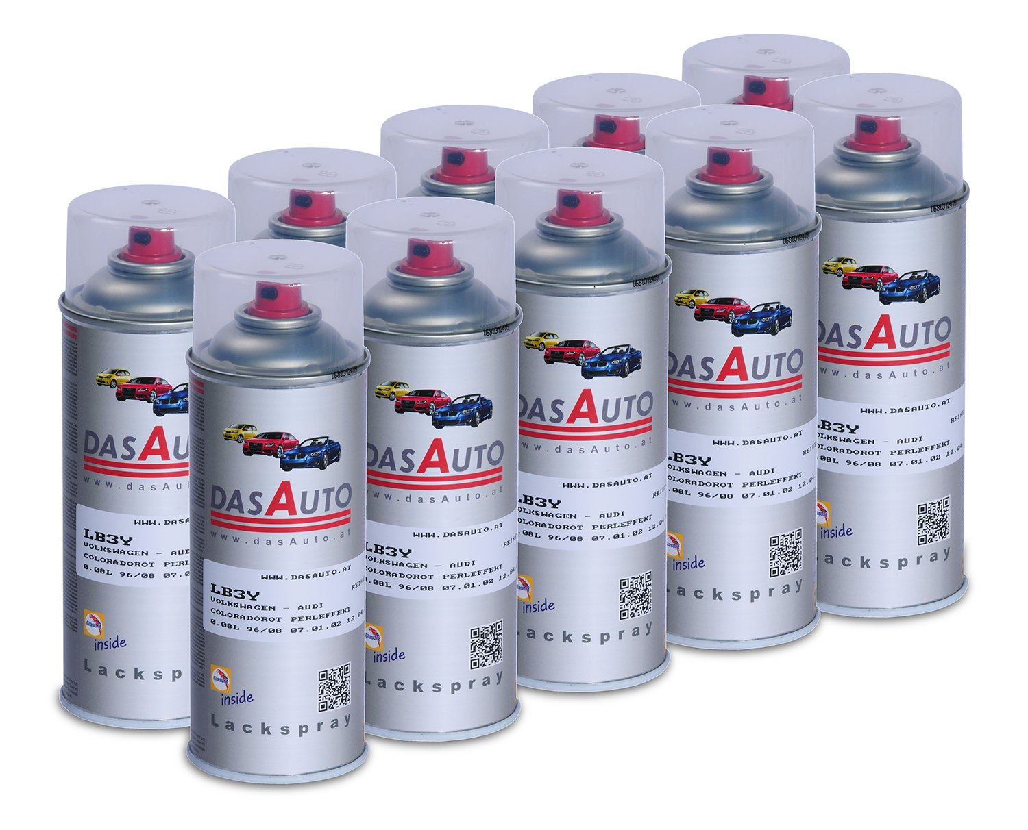 10 x dasauto Vernis Spray glasurit série 55 Inside 400 ml
