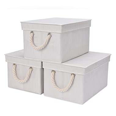 StorageWorks Storage Bins with Lid and Cotton Rope Handles, Foldable Storage Basket, White, Bamboo Style, 3-Pack, Jumbo, 17.1x12.0x10.4 inches (LxWxH)