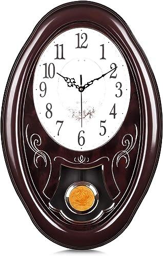 Lafocuse Mahogany Color Large Pendulum Wall Clock Traditional Retro Brown Silent Grandfather Quartz Clocks
