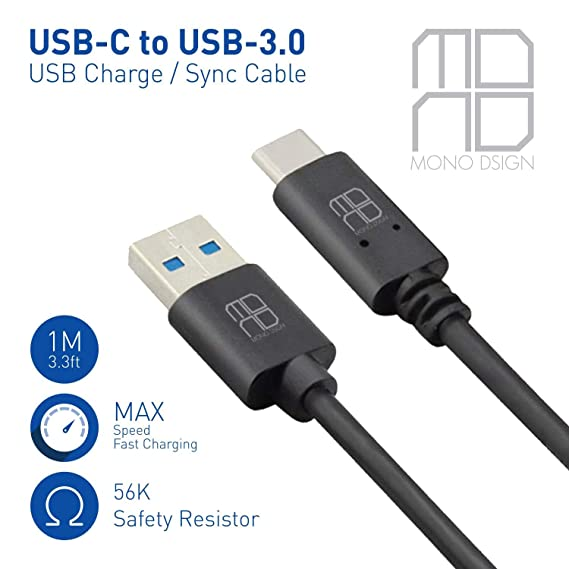 MONO DSIGN 3 3ft USB-C to USB-3 0 USB Charge/Sync Cable for