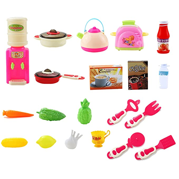 Amazon.com: 65 PCS Cute Colorful Kids Simulation Kitchen Toy Kitchen Pretend Playset Role Play Toy Kit with Shopping Cart Rose Red Counter: Sports & ...