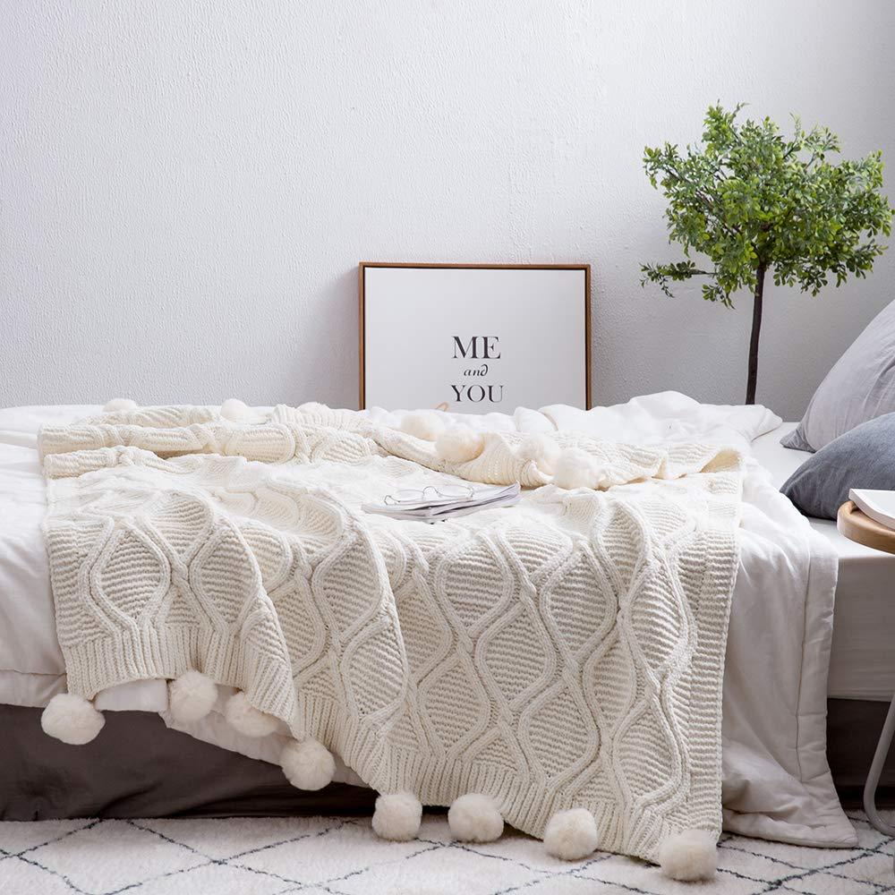 MH MYLUNE HOME 毛布 ブランケット 100%シェニール フリンジ付き ひざ掛け 丸洗いできる ベッドスロー 130x160cm (ベージュ)
