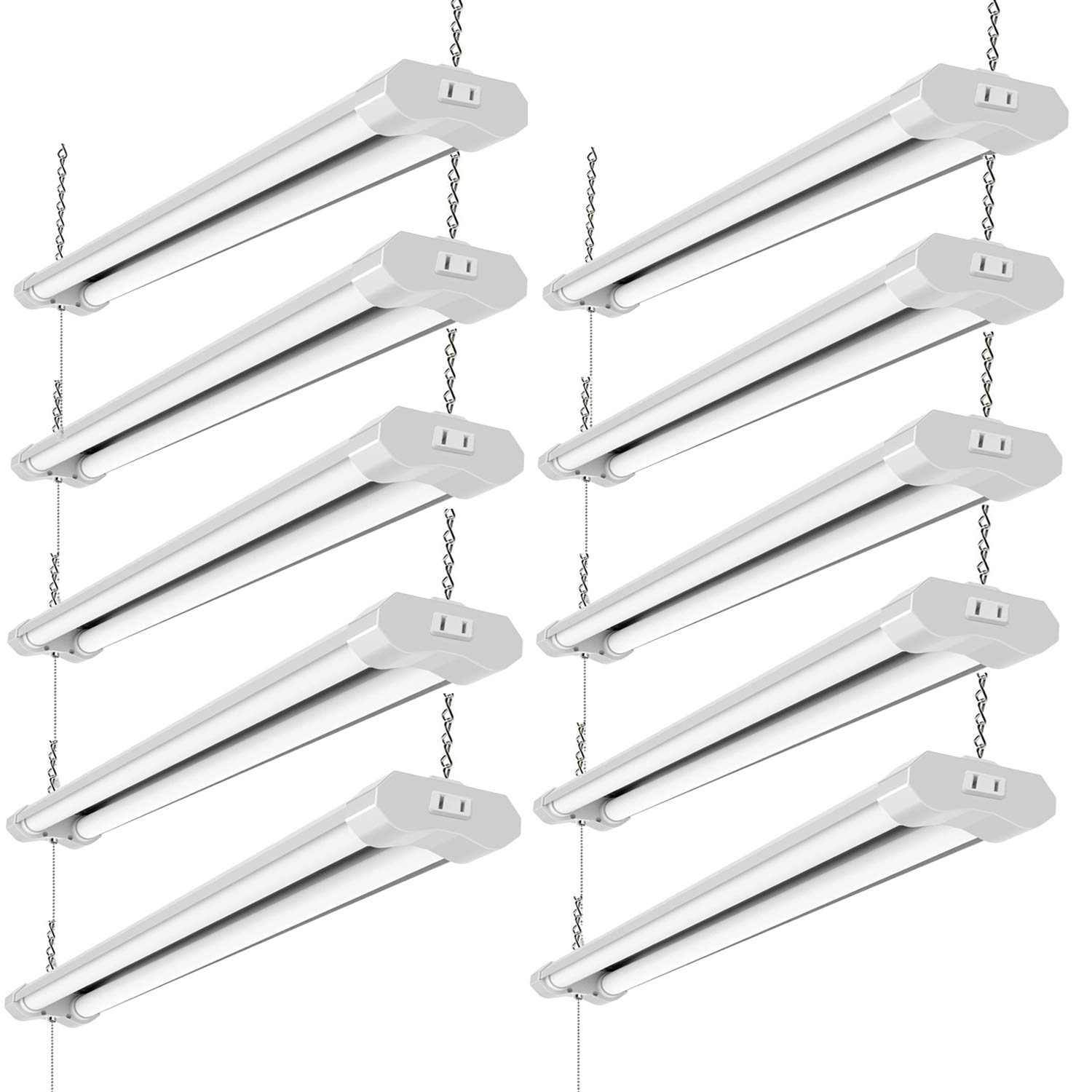 Lzhome(10-Pack) Linkable LED Shop Light for garages,4FT 4500LM,40W 5000K Daylight White, LED Wrapround Light, with Pull Chain (ON/Off),Linear Worklight Fixture with Plug (10 Pack)