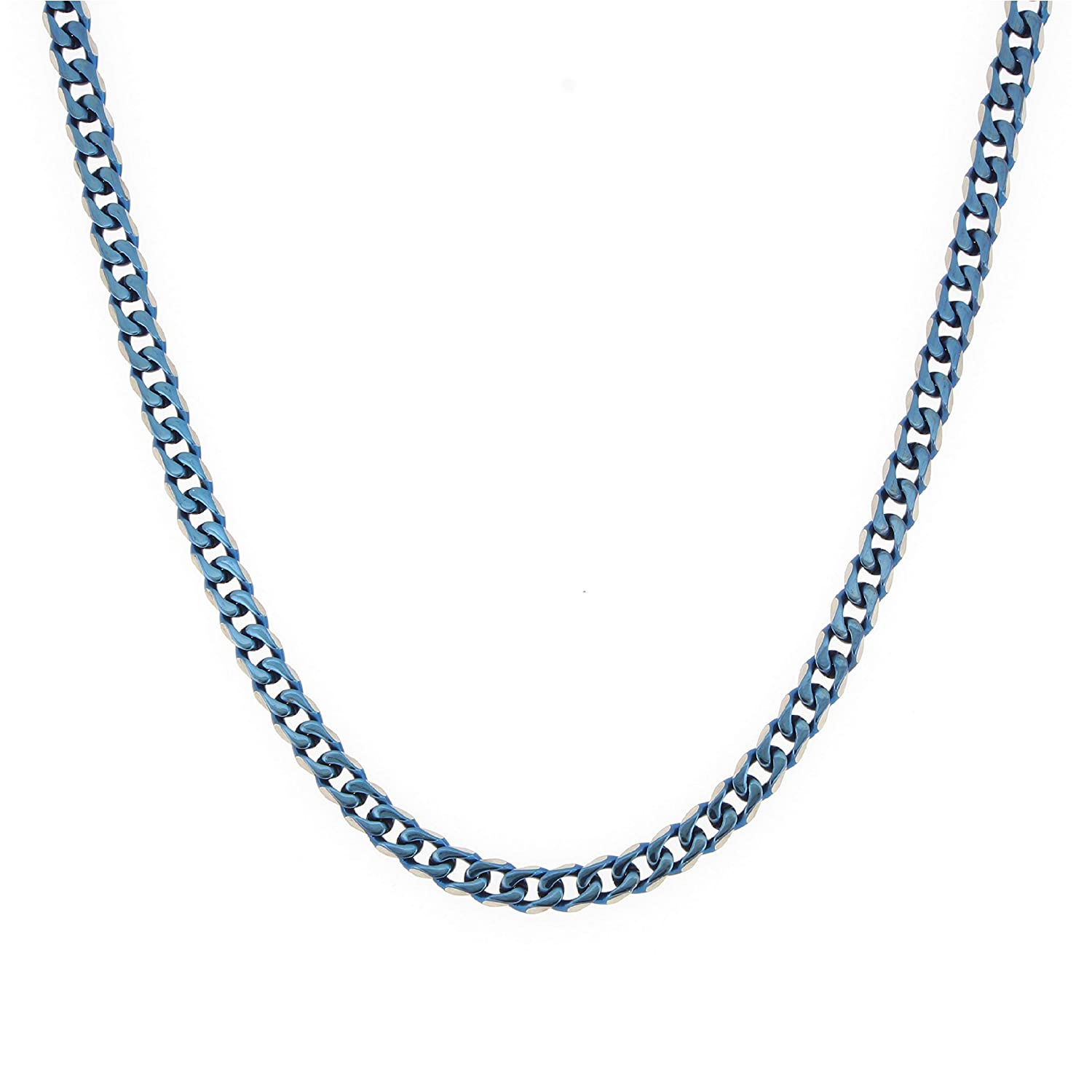 Arrow Jewelry Stainless Steel Two-Tone Blue IP-Plated 24 Curb Chain Necklace 6.25mm