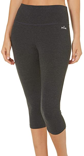 d0145f27d6025 Spalding Womens High Waist Capri Leggings X-Large Charcoal Grey at Amazon  Women's Clothing store: