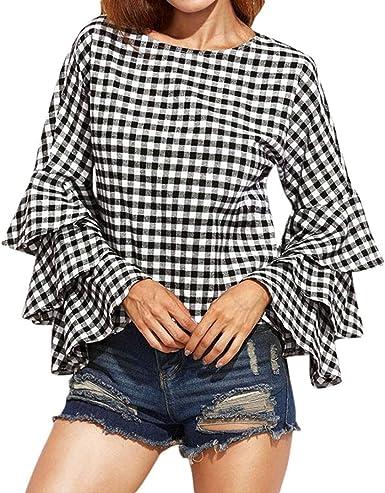 Mujer Camisas Primavera Otoño Elegante Cuadros Trompeta Manga O Cuello Tops Vintage Sudaderas Casuales Especial Estilo Fashion Blusas Superiores Blusa Shirts: Amazon.es: Ropa y accesorios