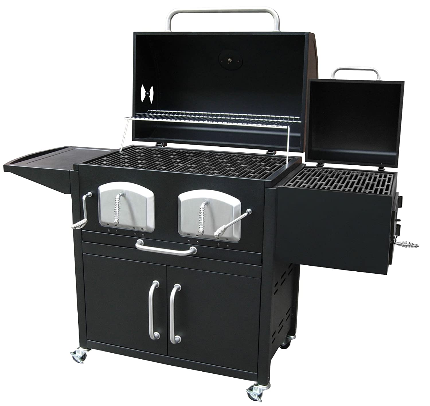 amazoncom landmann smoky mountain bravo premium charcoal grill with offset smoker box grills patio lawn u0026 garden