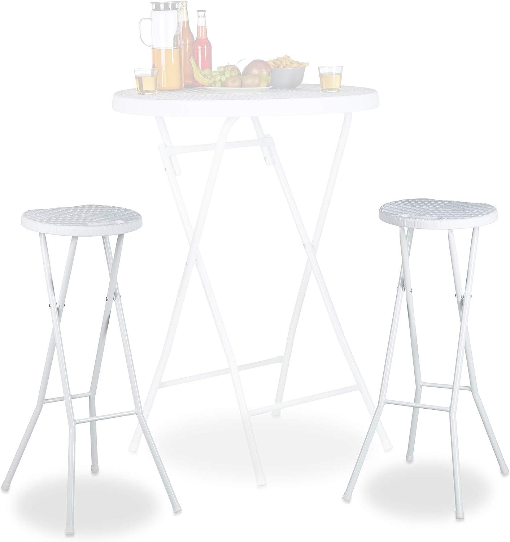 Relaxdays Bastian Plegable taburetes de Bar (2Unidades, Impermeable, 80cm de Altura, Desayuno Silla Doble Asiento Unidades, plástico, Contador, Color Blanco