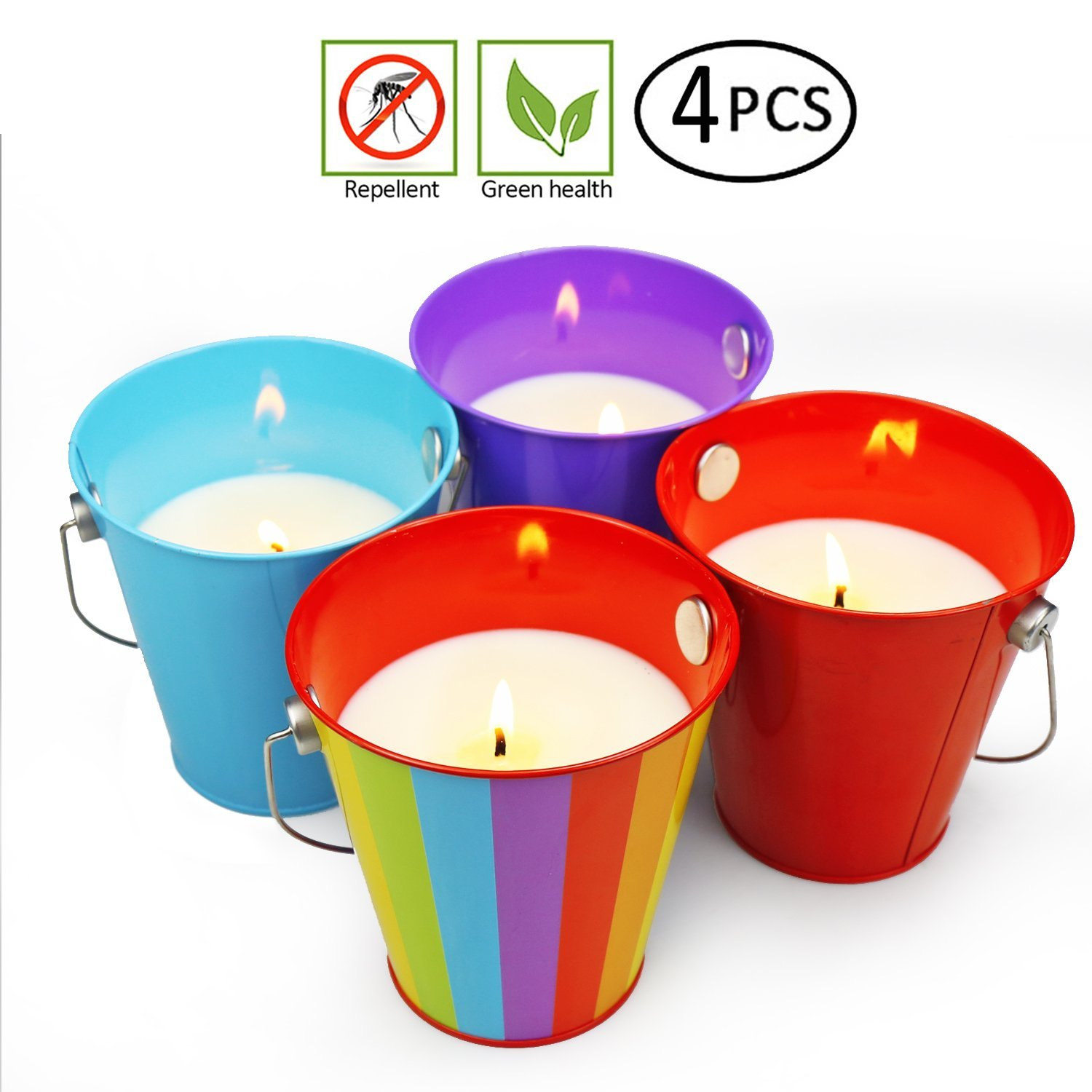 YUCH Citronella Wax Candle Bucket, 13.5-Ounce, Assorted Colors (PACK OF 4)