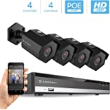 Amcrest 2MP 1080P Security Camera System, w/ 4K 4CH PoE NVR, (4) x 2-Megapixel 3.6mm Wide Angle Lens Weatherproof Metal Bullet PoE IP Cameras, NV2104E-IP2M-852EB4 (Black)