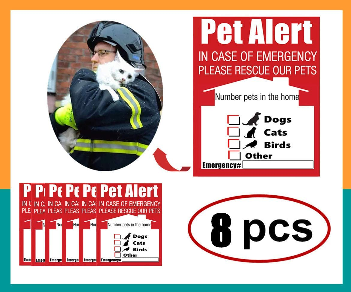 Pet Alert Finder Rescue Sticker Warning Label- Adhesive on Front & Back, in Case of Emergency Notify Firefighters Rescuers Save Pets, 4 x 5 Inch