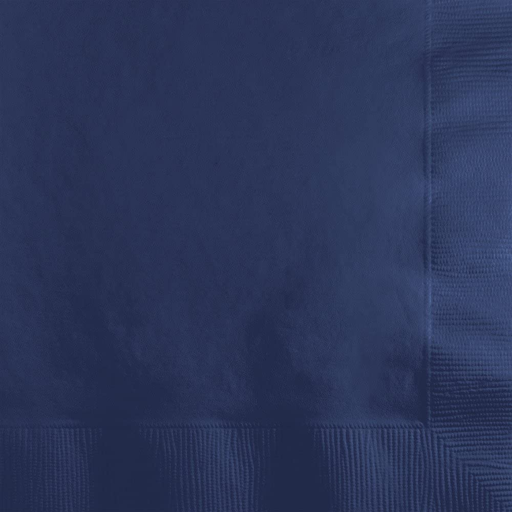 Creative Converting 500-Count Touch of Color 3-Ply Paper Beverage Napkins, Navy Blue - 571137B