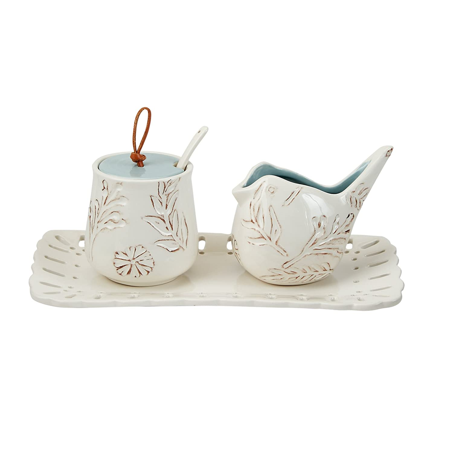 Christmas Tablescape Décor - Mud Pie white sculpted bird cream and sugar set