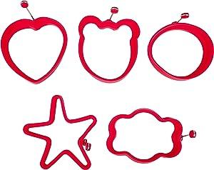 Hugmo Egg Molds - Pack of 5 - Bear, Star, Flower, Circle, Heart (Red)