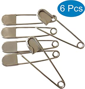 Large Safety Pins, 5 Inch Jumbo Safety Pins, Heavy Duty Stainless Steel Oversize Safety Pins, Extra Large Pins for Blankets, Heavy Laundry, Upholstery, Crafts and Decorations (6 Pcs)