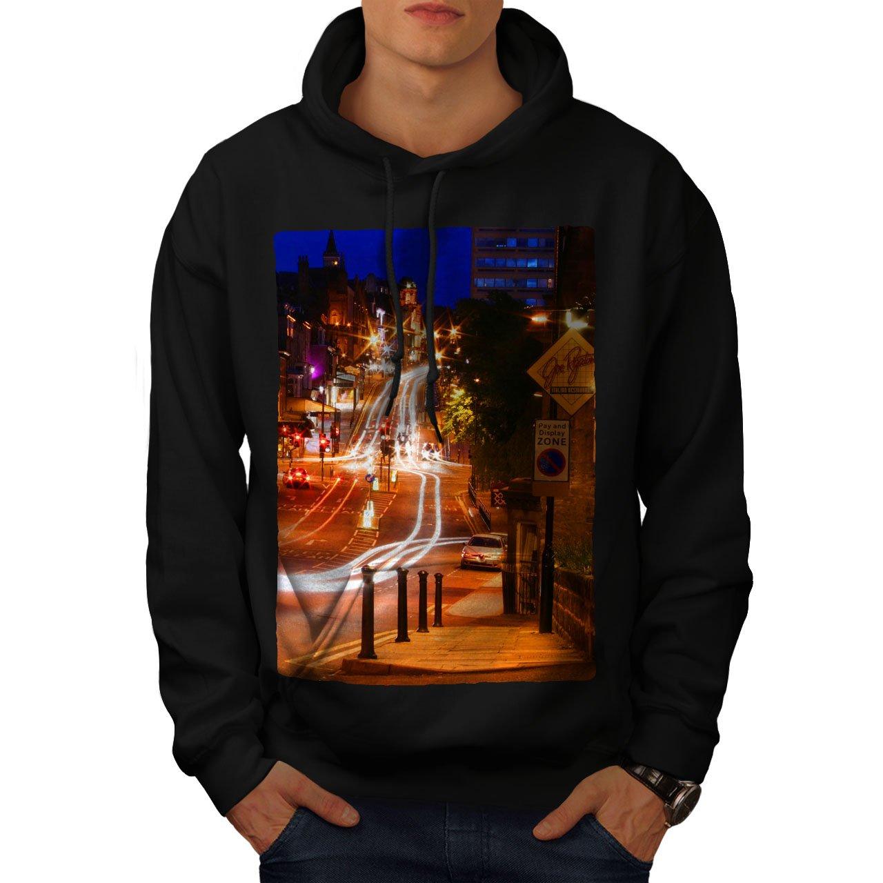 wellcoda Night Life Photo City Mens Hoodie Car Hooded Sweatshirt