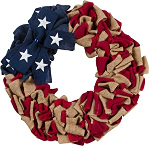 20-Inch Rustic Red White and Blue Patriotic Burlap Fabric Front Door Wreath with Metal Star Bow – Country Americana Decoration – Indoor Outdoor 4th of July Home Decor