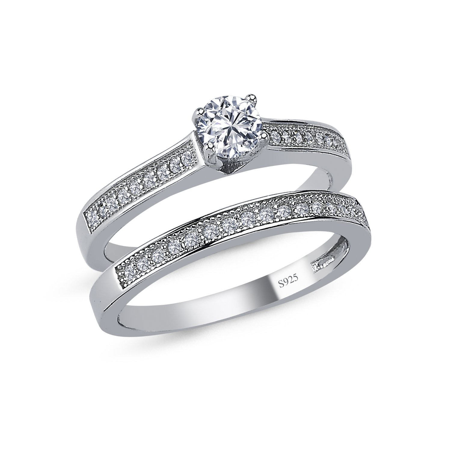 925 Solid Sterling Silver Cushion Halo AAAAA+ Gem Grade Quality ROUND BRILLIANT Cut 2 Pieces RING Set,Bridal Sets Anniversary Promise Engagement Wedding CZ Rings Comfort Fit and Rhodium Plated